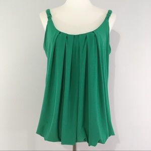 The Limited Kelly Green Front Pleat Tank Top Large